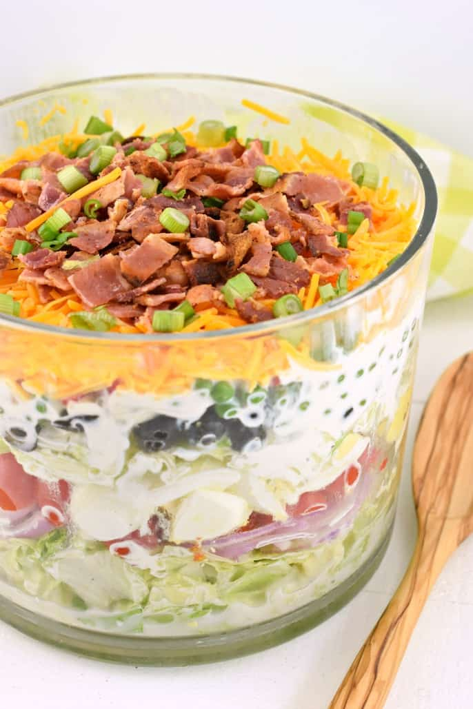 7 layer salad | Summer Side Dishes by popular Houston lifestyle blog, Haute and Humid: image of a salad layer salad.