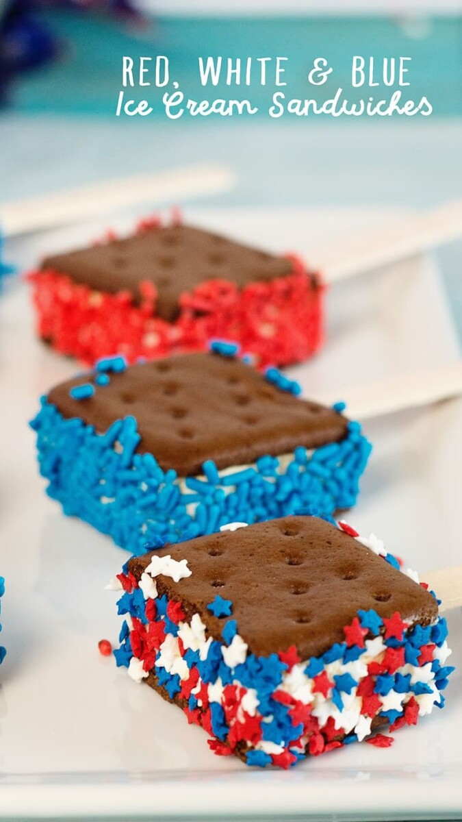 red white and blue ice cream sandwiches | 4th of July Desserts by popular Houston lifestyle blog, Haute and Humid: image of red white and blue ice cream sandwiches.