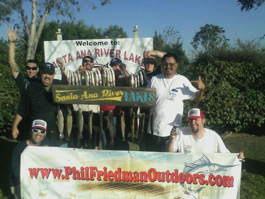 Phil Friedman and staff fishing at Santa Ana River Lakes