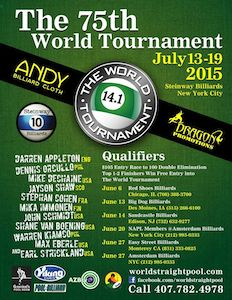 World Tournament of 14.1 Qualifiers in IA & NJ on Weekend