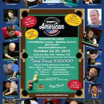 American Straight Pool Tourney Returns to Diamond Billiards