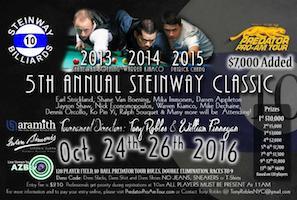 Annual Steinway Classic (Predator Pro/Am Tour) Starts Monday