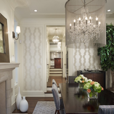chicago luxury home formal dining room with oversized chandelier