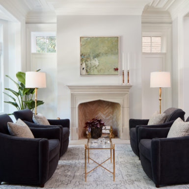 old town chicago renovated living room with wood burning fireplace