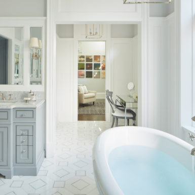 custom bathroom grey cabinets freestanding tub in chicago