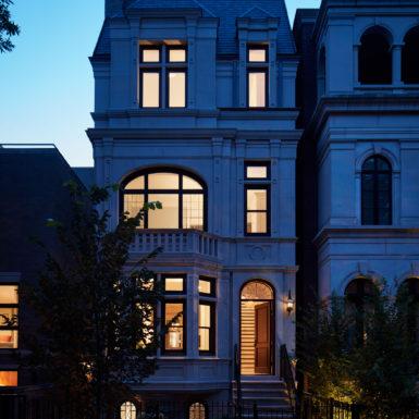 nighttime chicago home exterior