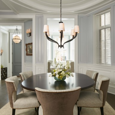 lake view chicago dining room table and chandelier