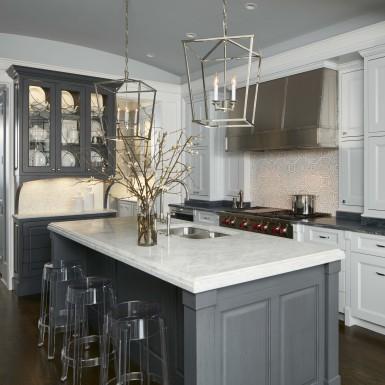lake view chicago custom home marble kitchen island
