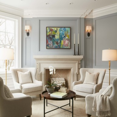 lake view chicago formal sitting room with fireplace