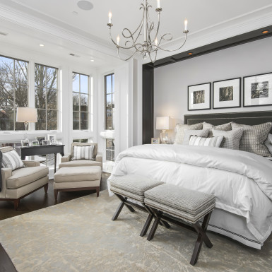 lake view chicago master bedroom floor to ceiling windows