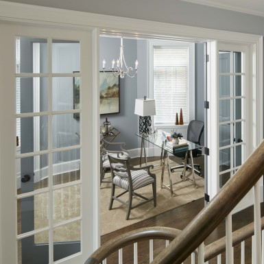 lake view chicago custom home office with french doors