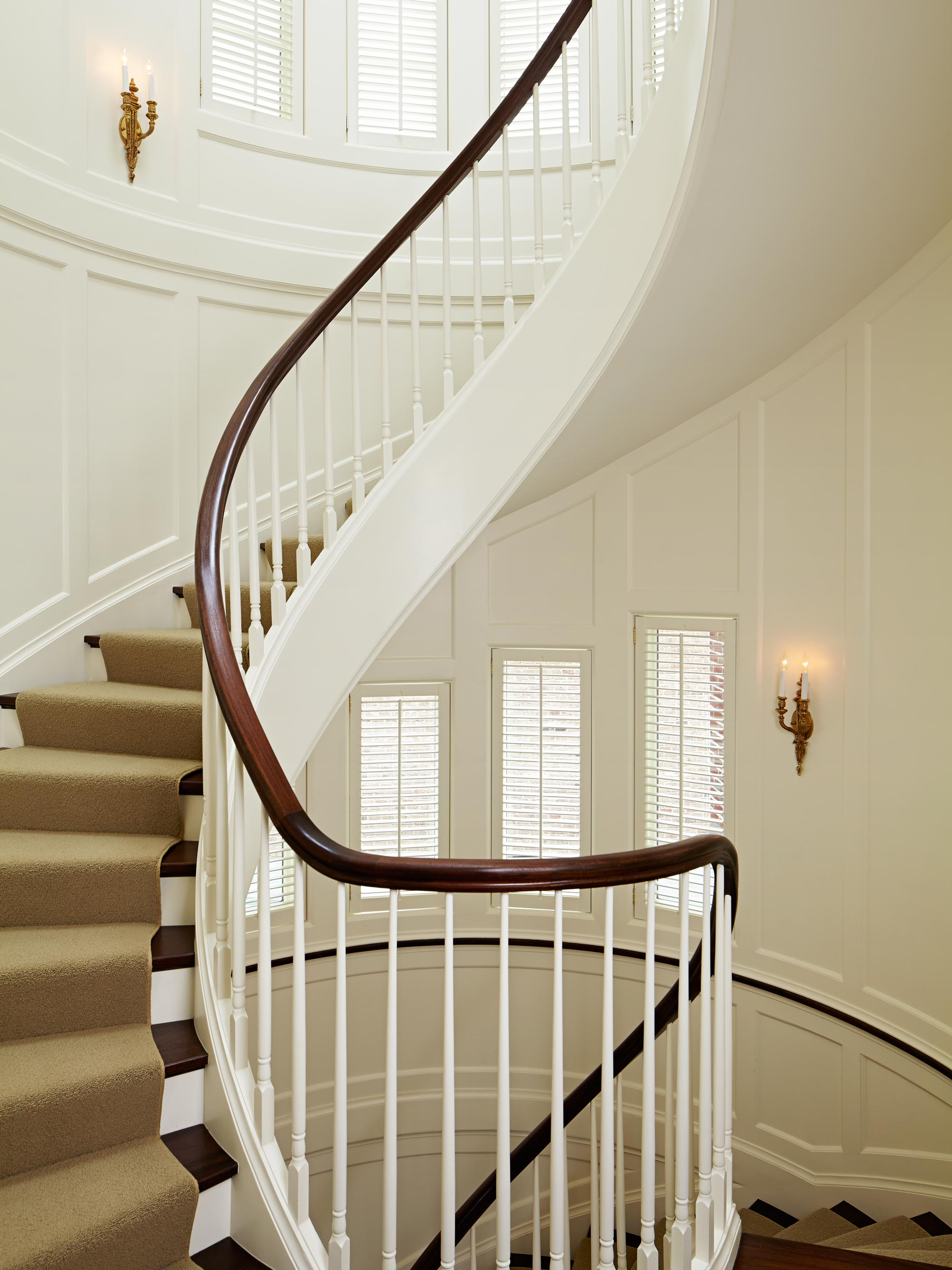 chicago luxury home classic style spiral staircase