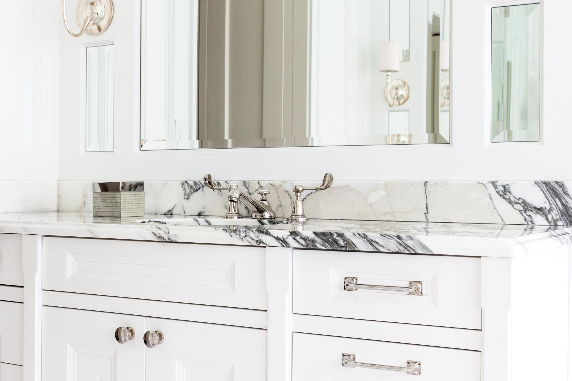 chicago luxury home bathroom black and white stone countertop