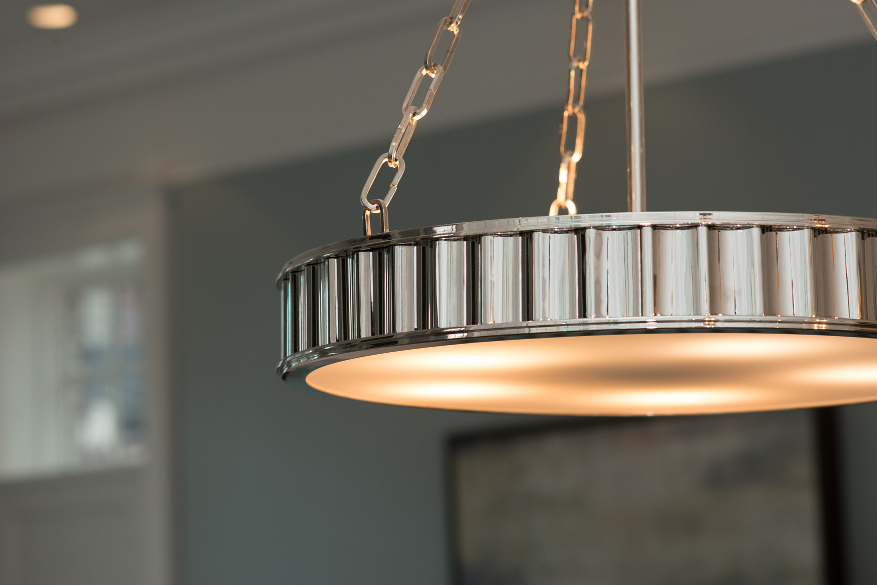 silver pendant light by hudson valley in chicago custom home