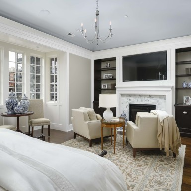 master bedroom with sitting area and fireplace chicago illinois