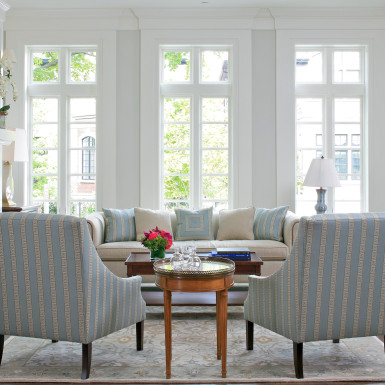 blue and white furniture home staging chicago