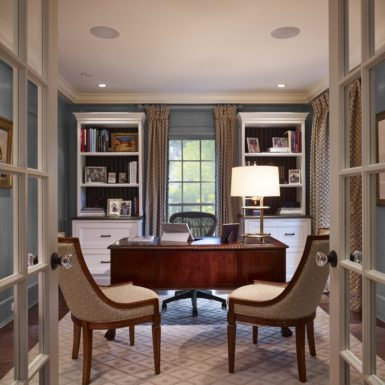 northfield illinois home office with glass paned french doors