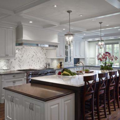 northfield illinois custom white kitchen with double islands