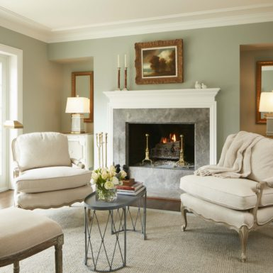 northfield illinois formal living room with wood burning fireplace