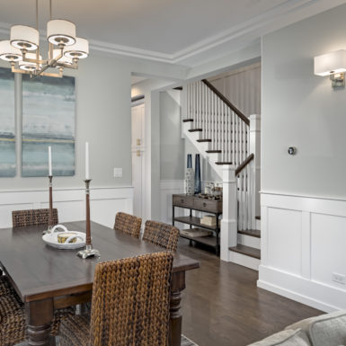 chicago dining room with custom wainscoting and crown moulding