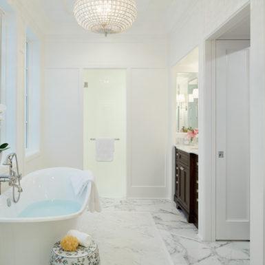 custom white bathroom freestanding tub chicago luxury home