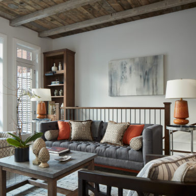 m design luxury home staging chicago living room reclaimed wood ceiling