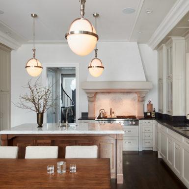 chicago luxury kitchen custom white range hood marble island