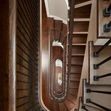 chicago wooden spiral staircase luxury home interior