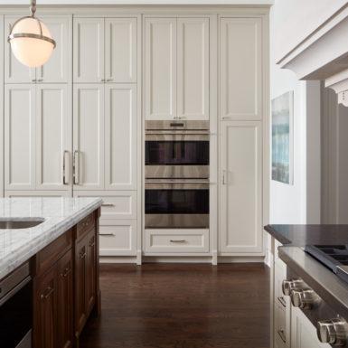 Illinois custom home kitchen white cabinets marble countertops