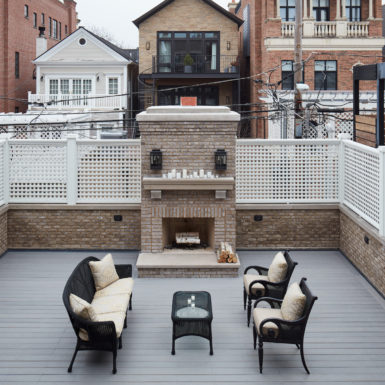 chicago rooftop patio with outdoor fireplace