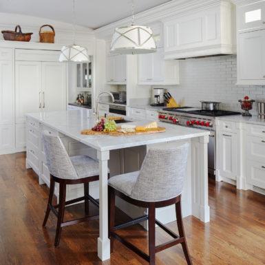 chicago custom home kitchen white cabinets