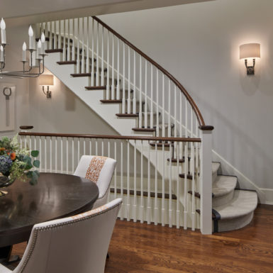 old town chicago custom home wood staircase with carpet treads