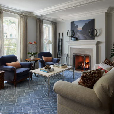 old town chicago custom home living room with wood burning fireplace