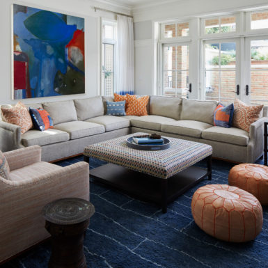 living room with french doors and sectional old town chicago home