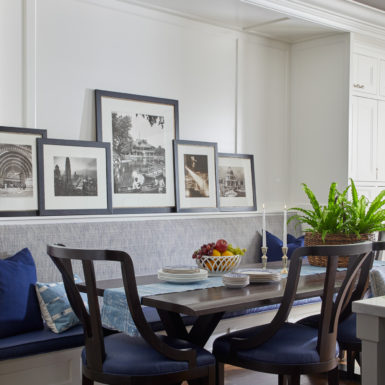 dining room with build-in bench chicago custom home