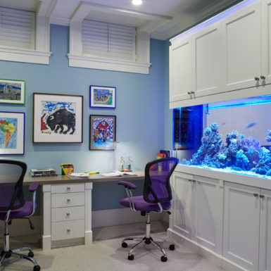 home office with built-in fishtank in old town chicago
