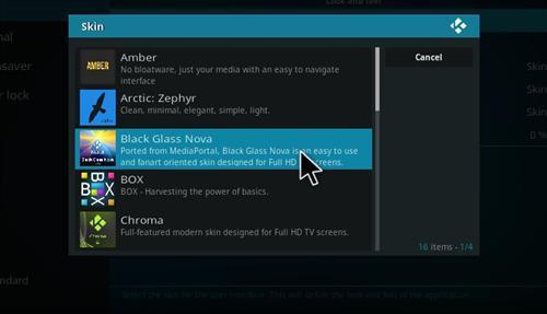 How to Install Black Glass Nova Skin Kodi 17 Krypton step 5