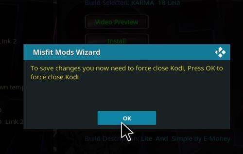 How to Install Karma 18 Leia Kodi Build step 21