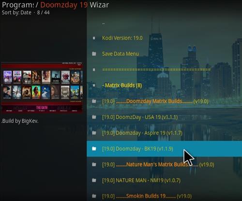 How to Install Doomzday BK 19 Kodi 19 Matrix Build Step 24