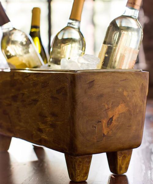 Blond Wood Wine Trough