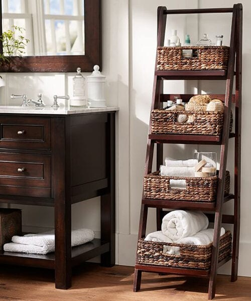 Rustic Ladder Floor Storage