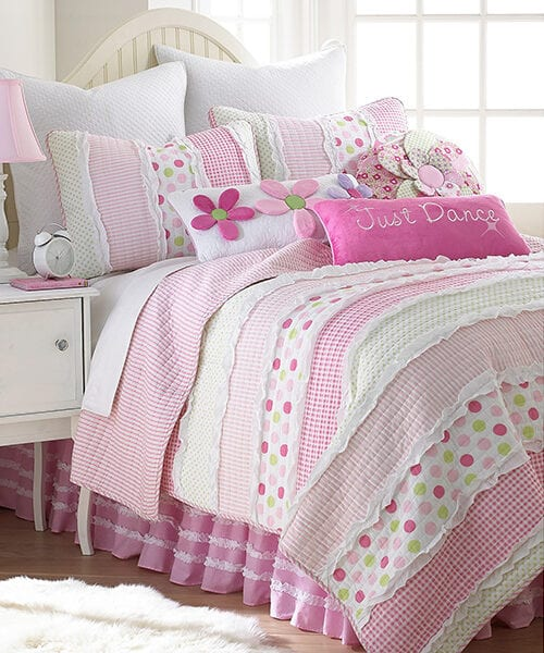 Levtex Marley Ruche Girls Twin Quilt | Girls Bedding Quilts