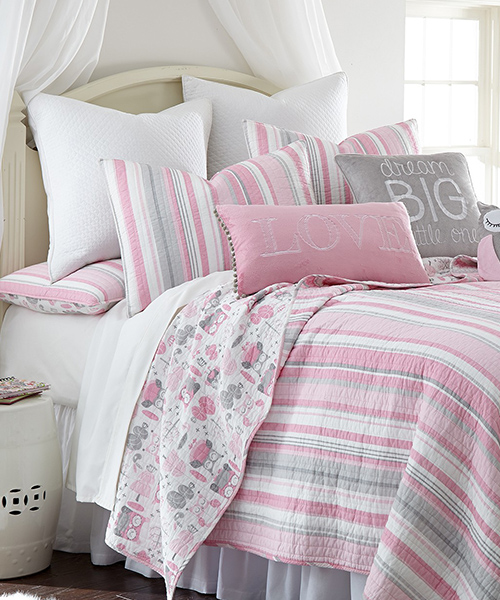 Girls Pink and Gray Bedding