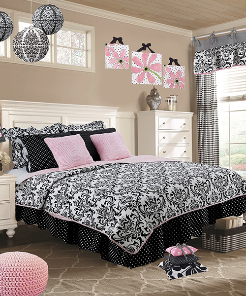 Girls Damask Bedding