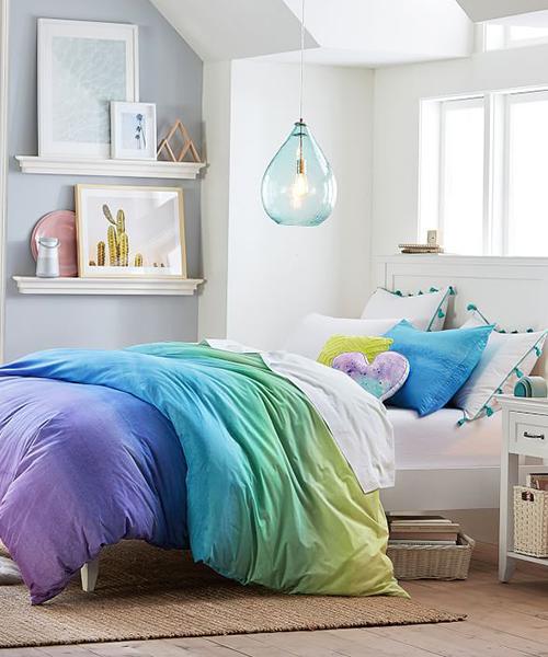 Girls Modern Bedding Set   Rainbow Duvet Cover