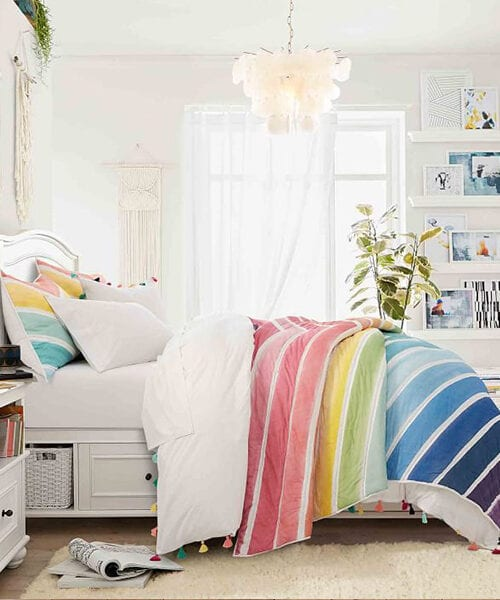 Rainbow Chevron Teen Girl Bedding