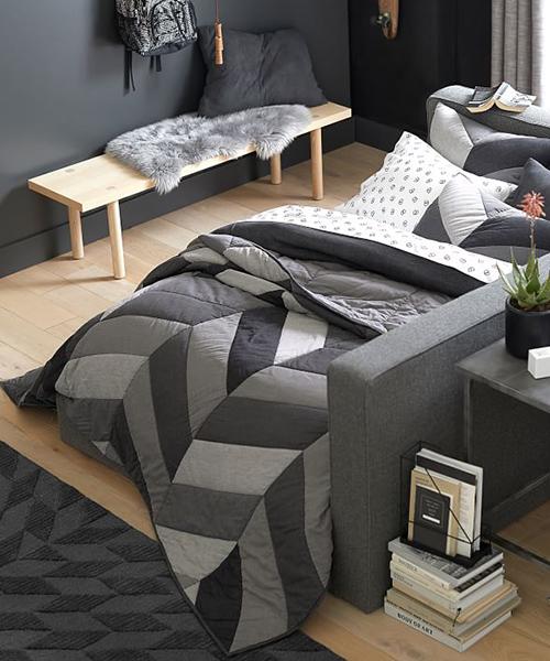 Contemporary Boys Bedding | Chevron Patchwork Quilt