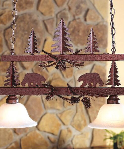 Bear Forest Log Cabin Chandelier