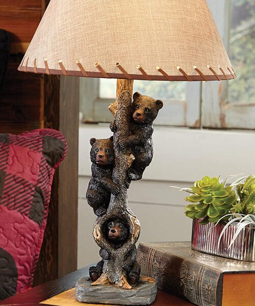 Bear Log Cabin Lamp