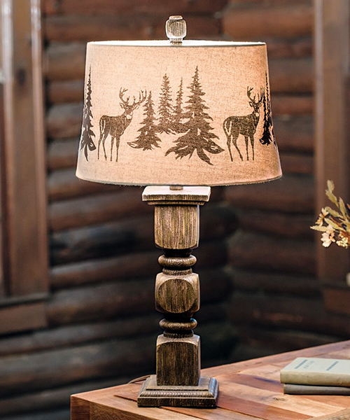 Deer Forest Rustic Table Lamp